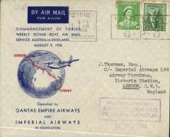 """(Australia) First Thrice Weekly Flying Boat Air mail Service Australia/England, Sydney to London, IAW Airways Terminus Victoria 19 August arrival ds, franked 5d, attractive blue/red/grey """"globe"""" souvenir cover with IAW logo verso, Imperial Airways/Qantas. Posted on the the day of the introduction, in Australia, of the third stage of the """"All Up"""" scheme. But Australia adopted a reduced rate of 5d per 1/2oz, although the GB-Aust. rate was 1 1/2d. The flying boat was """"Coriolanus"""""""