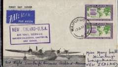(New Zealand) Trans pacific airmail, F/F FAM 19  Auckland to Noumea (New Caledonia), bs 20/7, black/grey souvenir cover with picture of flying boat, franked 1/-, purple 'New Zealand-USA' cachet and black 'Pan Am Noumea FF' cachet verso.