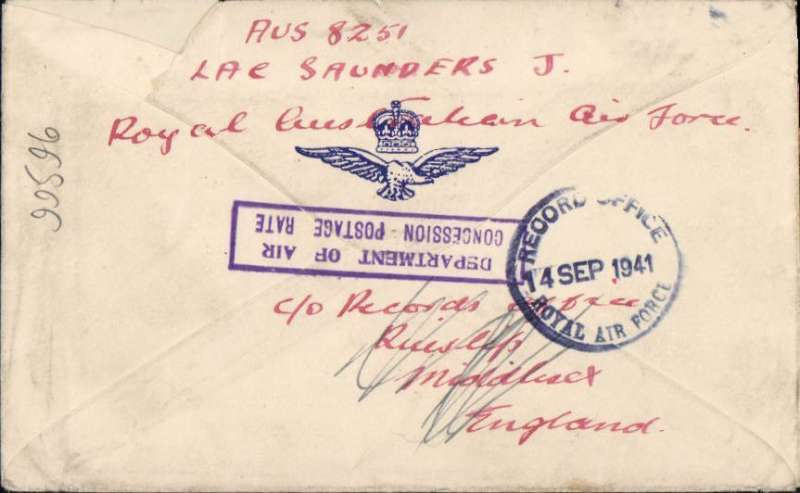 "(Australia) WWII Royal Australian Air Force cover with crown over wings logo on flap from RAAF, Evans Bay  to Ascot Vale, Melbourne, then on to RAF Silloth, Cumberland UK, via RAF Records Office, Middlesex, England. All for the concessionary rate of 1d, fine strikes violet framed ""Department of Air/Concession Postage Rate"" hs's front and verso."