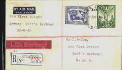 "(Australia) Butler Air Transport, F/F Sydney to Coffs Harbour, bs 27/8, registered (label) cover franked 9d, typed ""Per First Flight/Sydney-Coff's Harbur/26-8-46""."