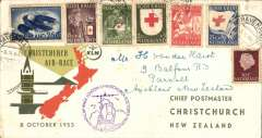 (Netherlands) KLM F/F Amsterdam to Christchurch Air Race, New Zealand, bs 11/10, printed souvenir envelope, franked 80c, special violet Air Race cachet.