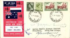 (Papua and New Guinea) Qantas DC3 return flight Hollandia to Lae, bs 8/9, superb red/white/blue Qantas vignette, one of only 300 issued specially for the flight, and tied by the signature of the pilot Capt. J.B.Fawcett, also signed by Captains W. Morgan-Smith and A. Jacobson. An almost identical cover is illustrated in Fromer's Australian Air Mail Labels and Vignettes, 1920-1960. Lovely item.
