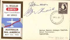 (Australia) Qantas F/F  Sydney to San Francisco, b/s, souvenir cover franked 2S, signed by pilots KG Jackson and JP Shields.official cover.
