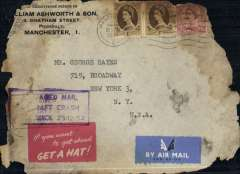 "(Recovered Interrupted Mail) BOAC B377 Stratocruiser ""Cathay"" crash at Prestwick, UK, en route from England to New York, envelope addressed to New York, franked 1/- x2 and 6d (all top edge damage), canc Manchester/22/12/54, 50% strike purple boxed ""Salvaged Mail/Aircraft Crash/Prestwick 25-12-54"" cachet, Ni 541225a, uncommon red/white ""If you want to get ahead/Get a Hat"" label."
