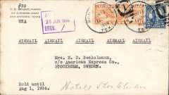 """(United States) San Antonio, Texas to Stockholm, bs 24/6, Beckleman corner cover franked 11c, addressed to American Exress, Stockholm, typed """"Airmail"""" x5. US internal air service to New York, then by sea to Scandinavia."""
