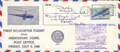 "(Helicopter) First helicopter flight from Bridgeport, red/white/blue souvenir cover with picture of Sikorsky S 51 addressed to London, franked 30c air, large violet ""20th Anniversary of Inauguration of Regular New England Air Mail Service"" cachet."