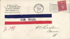 (United States Internal) Emergency Flood Service, Concord, NH to Barre, VT, bs 2/12, Roessler corner cover franked 2c, large red/white/blue 'Air Mail' etiquette. Signed by the pilot Lt. Fogg.