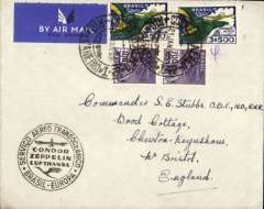 (Brazil) Cover from Rio postmarked Jan 26, 1936 to England, no arrival ds, World Cruise/Cunard White Star logo envelope, black circular 'Brasil-Europa/ Condor/Zeppelin /Lufthansa' cachet. The weekly 100% air service was inaugurated in January 1936.