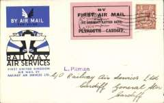 """(GB Internal) Railway Air Services, 1934, Plymouth to Cardiff, official blue/black/white souvenir cover franked 1 1/2d, postmarked Plymouth 20 Aug 34 machine ds tying black/pink Pitman label,  """"By First Air Mail/(At Ordinary Letter rate)/Plymouth-Cardiff"""". Scarce."""