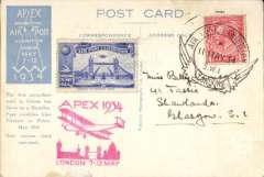 (GB Internal) Apex International Air Post Exhibition, special souvenir PPC with repro photo of First Chinese Air Mail 1920, franked 1 1/2d canc official Exhibtion postmark 11 May 34, red 'Apex 1934/London 7-12 May' cachet and blue perforated Exh vignette.
