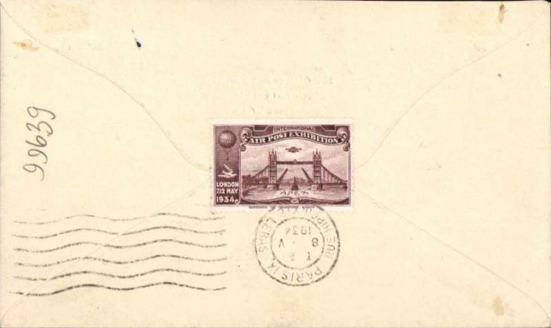 (GB Internal) Apex International Air Post Exhibition, London, First Day souvenir cover sent to Paris, bs 8/5,  franked 1/2d canc special Exhibition postmark, yellow Apex cachet, purple perforated Apex vignette verso.