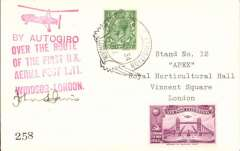"""(GB Internal) Apex International Air Post Exhibition, special souvenir PPC with drawing of  autogiro, black imprint Exhibition vignette and blue """"By Autogiro"""" label, flown by autogyro from Windsor to London, then posted at the Exhibition Post Office, franked 1 1/2d canc official Exhibition postmark 8 May 34, red 'Apex 1934/London 7-12 May' cachet, and large """"By Autogiro/Over the Route/of the First UK/Aerial Post 1911/Windsor London"""", signed by John S. Davies. Francis Field authentication hs verso."""