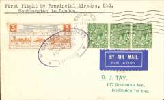 (GB Internal) Provincial Airways, inauguration of the third GB Internal Airmail Service, Southampton to London, cancelled on arrival 11.15am London 28 Nov due to unforseen landing at Heston, 3d bi-coloured vignette tied, on departure, by Southampton Provincial Airways double lined oval cachet. The service operated for six days only.