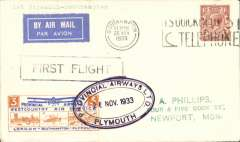 """(GB Internal) Provincial Airways Ltd, inauguration of the third GB Internal Airmail Service, """"West Country Air Service, Plymouth to Southampton, plain cover franked 1 1/2d postmarked Southampton machine cancel, posted on arrival, 3d bi-coloured vignette tied by Provincial Airways/Plymouth oval depart cachet, typed 'By Airmail First Flight'. The service operated for six days only"""