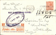 """(GB Internal) Provincial Airways Ltd, inauguration of the third GB Internal Airmail Service, """"West Country Air Service, Plymouth to Southampton, plain cover franked 1 1/2d postmarked Southampton machine cancel, posted on arrival, 3d bi-coloured vignette tied by Provincial Airways/Plymouth oval depart cachet, typed 'By Airmail First Flight'. Signed by the pilot S.W.A.Scott. The service operated for six days only"""