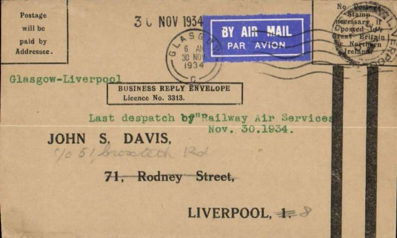 (GB Internal) Railway Air Service, last dispatch of the current Railway Air Services contract with the Post Office, Glasgow 6am Liverpool 1/12 ,arrival ds on front ds, uncommon Business Reply Envelope (No Postage Needed).