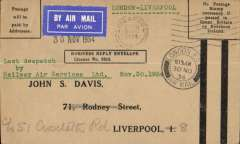 (GB Internal) Railway Air Service, interrupted last dispatch of the current Railway Air Services contract with the Post Office, London 8.15am to Liverpool 1/12 arrival ds on front ds, uncommon Business Reply Envelope (No Postage Needed). Forced landing at Birmingham, so sent on by train.