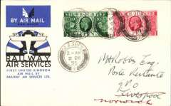 (GB Internal) F/F New RAS Contract with Post Office following the expiry of the Hillman AW contract, F/F Glasgow to Liverpool, bs 2/12, official black/blue/white souvenir cover, franked 1 1/2d.