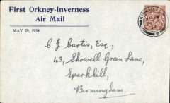 (GB Internal) Highland Airways, F/F Kirkwall (Orkney) to Inverness, no arrival ds, blue/grey printed souvenir cover franked 1 1/2d. Francis Field authentication hs verso.