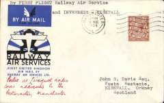 (GB Internal) Railway Air Service/Highland Airways, first acceptance for Kirkwall from Manchester, flown by F/F Railway Air Service on 20/8/34 from Manchester-Glasgow, then by Highland Airways from Inverness-Kirkwall, black/blue special cover franked 1 1/2d, canc Manchester 10.45am 20 Aug 34, bs 1.45pm Kirkwall 21 Aug 34, typed 'By first flight Railway Air Service/ and Inverness-Kirwall.