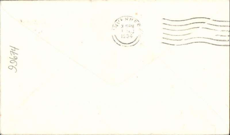 (GB Internal) Highland Airways, F/F tenth GB Inland Airmail Service Inverness-Wick-Kirkwall, Wick to Inverness, bs 'Inverness/3.45pm/1 Dec/ 1934' cds, Cross cover franked 1 1/2d.