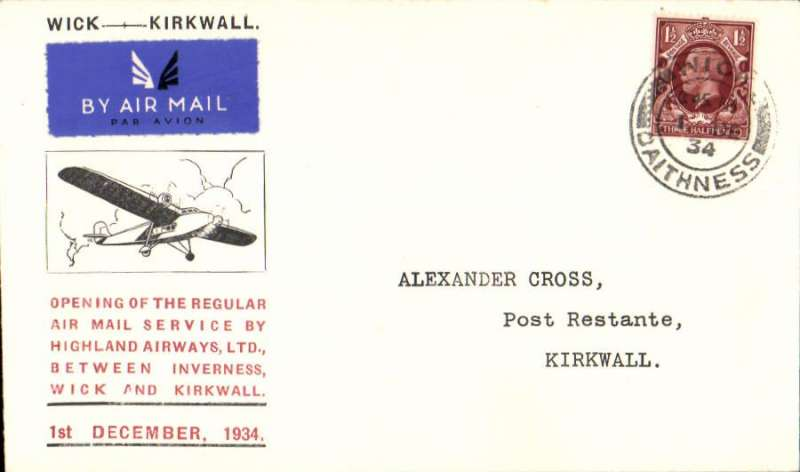 (GB Internal) Highland Airways, F/F tenth GB Inland Airmail Service Inverness-Wick-Kirkwall, Wick to Kirkwall bs '12.45pm/1 Dec/ 1934' cds, Cross cover franked 1 1/2d.