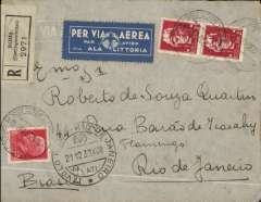 """(Italy) First regular LATI southbound flight, Rome to Rio de Janeiro, bs 25/12, registered (label) cover franked 4L75, special """"winged gull""""  departure cds, with stepped """"Via Lati"""" in lower lunette (see Beith p' 5),  pale blue/white 'Via Ala Littoria' etiquette."""