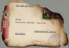 "(Recovered Interrupted Mail) First Regular LATI northbound flight from Rio de Janeiro, crashed in the Atlas mountains near Mogador, charred 85% front showing residue of Brazil 400R x2 stamps, date of postmark unclear, fine 70% residue of first flight cachet, typed ""Via Ala Littoria""."
