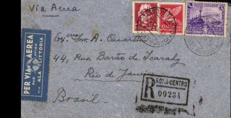 (Italy) LATI southbound flight, Rome to Rio de Janeiro, bs 18/4, registered (hs) cover franked surface L1.25, air L9,75, registration L1.50. Note Ala Littoria airmail etiquette still in use.