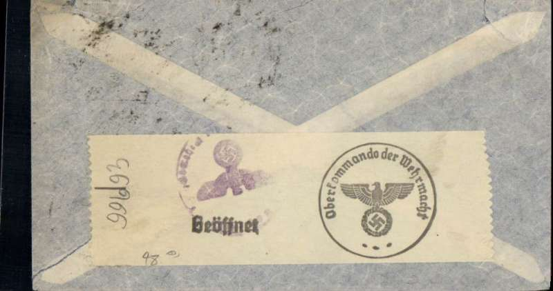 """(World War II) Brazil to Germany, flown by LATI, censored WWII cover double rated 10,800r, canc Rio de Janeiro cds, fine blue/white three line """"Via LATI"""" service etiquette, sealed German black/white OKW censor tape. Carried by LATI all the way from Rio to Rome, thus avoiding the British censorship in the Caribbean."""