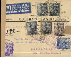 "(Spain) Spain to Uruguay, Madrid to Montevideo, bs 23/4, flown by LATI, censored WWII 'Fabricas de Gaseosa' cover franked 6P 90c, canc Madrid 14 Abr 40 cds, fine blue/white four line ""Via LATI"" service etiquette, violet framed 'Censura Millitar' hs. Correctly rated for carriage by LATI from Spain to South America.  Carried by LATI  all the way from Rome to Rio de Janeiro, and by Condor or Panagra to Montevideo."