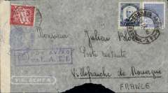 """(World War II) Brazil to Vichy France, bs Villefranche-de-Rouergue 18/10, flown by LATI, censored WWII cover franked 5400R, canc Rio de Janeiro cds, also canceled French 30c postage due, fine strike violet framed """"Por Aviao/via L.A.T.I."""" directional handstamp, sealed Italian black/white 'Verificato per censur' and tied my Italian censor mark. Carried by LATI all the way from Rio to Rome, thus avoiding the British censorship in the Caribbean. This cover was correctly rated 5400R, so the 30c postage due is unusual. Significant bottom edge tear."""