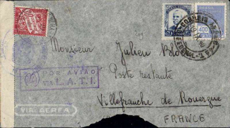 """(Brazil) Brazil to Vichy France, bs Villefranche-de-Rouergue 18/10, flown by LATI, censored WWII cover franked 5400R, canc Rio de Janeiro cds, also canceled French 30c postage due, fine strike violet framed """"Por Aviao/via L.A.T.I."""" directional handstamp, sealed Italian black/white 'Verificato per censur' and tied my Italian censor mark. Carried by LATI all the way from Rio to Rome, thus avoiding the British censorship in the Caribbean. This cover was correctly rated 5400R, so the 30c postage due is unusual. Significant bottom edge tear."""