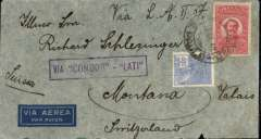 "(Brazil) Brazil to Switzerland, no arrival ds, flown by LATI, uncensored WWII airmail cover franked 5400R, canc Sao Paulo cds, fine strike violet framed ""Via Condor-LATI"" directional handstamp, ms 'Via L.A.T.I.'."