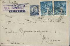 "(Brazil) Rio de Janeiro to Milan, no arrival ds, flown by LATI, uncensored WWII airmail cover franked 5400R, fine strike violet framed diubke line ""Via L.A.T.I."" directional handstamp, ms 'Via L.A.T.I.'."