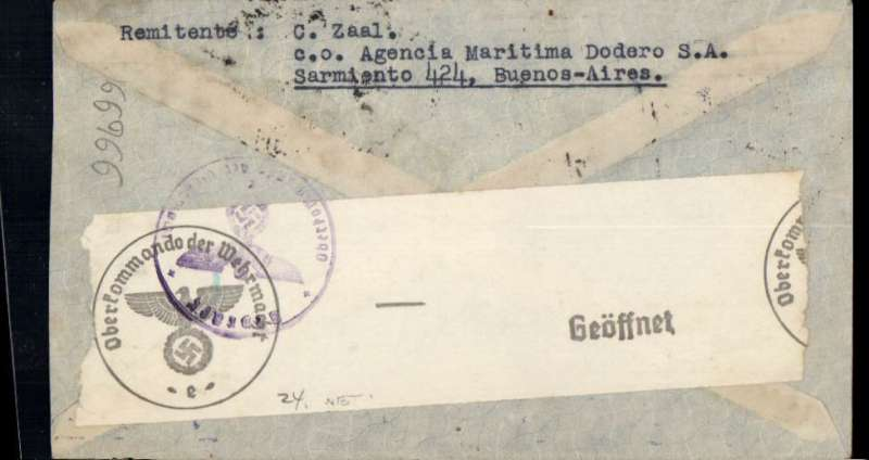 """(World War II) World War II censored airmail cover, Buenos Aires to Holland, no arrival ds, dark blue/grey Condor envelope, franked 1P45, typed endorsement """"Por Condor-LATI"""", sealed black on white OKW censor tape (code e = Frankfurt) tied by purple circular eagle and swastika censor mark. Mail from all over South America was flown, mainly by Syndicato Condor, to Brazil to connect with LATI."""