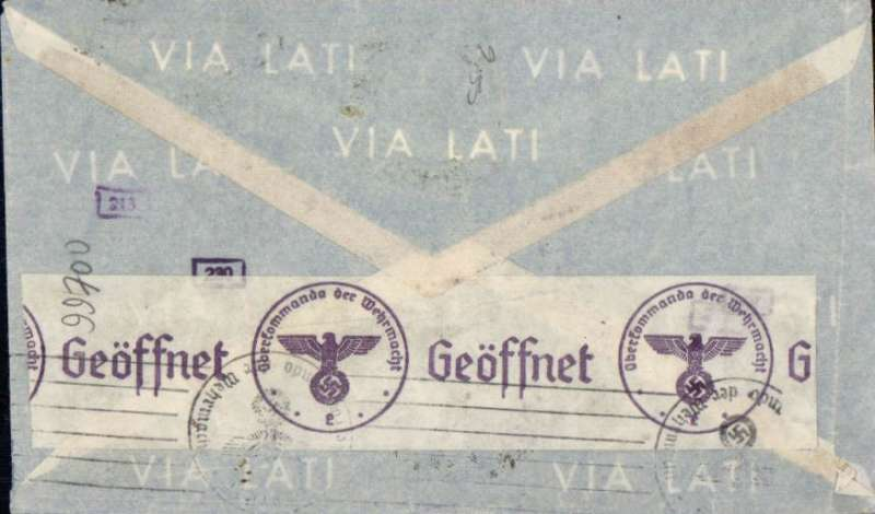 (Brazil) World War II censored airmail cover, Rio de Janeiro to Germany, no arrival ds, dark blue/pale blue general purpose publicity envelope with styalises waves, franked 5400R, sealed black on white OKW censor tape (code e = Frankfurt) tied by purple circular eagle and swastika censor mark.