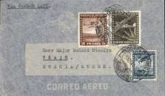 (Chile) LATI, Chile to Sweden, scarce uncensored WWII airmail cover, Santiago to Vaxjo, franked 23P20, canc Santiago/Correo Aereo cds, typed 'Via Condor-LATI'. Flown from Santiago through the Andes (Mendoza-Buenos Aires-Montevideo) to Rםo de Janeiro by CONDOR, then all the way from Rio to Rome by LATI, thus avoiding the British censorship on the Pan Am North Atlantic service. No Swedish censor because Sweden was neutral and did not censor incoming or outgoing mail during WWII, also no German censor. Not all mail passing through Germany en route from Italy to neutral Sweden was censored (see Boyle).
