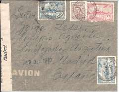 (Uruguay) Uruguay to Spain, flown by LATI, Montevideo to Madrid, 19 Dez 1949 arrival hs on front, franked 1P 20c, sealed black/white' Direction Gialdo Securidad/Madrid' censor tape. Pan Am southern trans Atlantic flights bypassed the UK Bermuda censor only between March and September 1940, so not flown by Pan Am, nor by the Air France South Atlantic service which ceased in July 1940. Flown Montevideo-Buenos Aires-Rio de Janeiro by Condor, then by LATI all the way to Seville, thus avoiding the British censorship on the Pan Am North Atlantic service. Mail carried by LATI, DLH and Ala Littoria was not always censored in Spain. LATI mail from Uruguay to Spain is uncommon.
