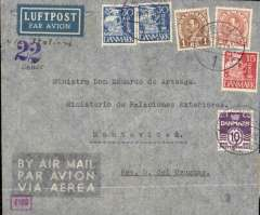 "(Denmark) Denmark to Uruguay, flown by LATI, a rare censored WWII etiquette airmail cover from Copenhagen to the Ministry of External Affairs, Montevideo, bs 10/12, franked 385 ore canc Copenhagen cds, ms ""Via Italien"", violet ""22"" hs, small red framed '4109' German censor mark, sealed black on white OKW censor tape (code a = Baltic States) tied by purple circular eagle and swastika censor mark. Flown Lufthansa from Copenhagen-Frankfurt, air or rail to Rome, LATI to Rio, Syndicato Condor to Buenos Aires, then Condor to Montevideo, thus avoiding British censorship on the Pan Am North Atlantic service. Closed tear verso, does not detract."