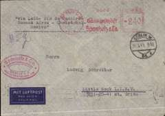 "(Germany) Germany to USA, flown by LATI, scarce censored WWII imprint etiquette airmail cover, Berlin to New York, uncommon red Berlin 20 3 41 rpf machine cancel, typed ""Via LATI-Rio de Janero-Buenos Aires-Lima-Cristobal-Mexico"", ms ""5g"", sealed black/white German OKW censor tape, code e Frankfurt, also small German framed number censor mark. Correctly rated 240rpf for Germany to USA via LATI (215rpf air fee + 25rpf basic, see Beith p38).  Flown Rome to Brazil by LATI, FAM 6 to Buenos Aires, then the west coast route to USA (to avoid British censorship in the Caribbean) via Panagra to Cristobal, for exchange of airlines, FAM 8 to Brownsville, then CAM 22 and internal airline to final destination. An expensive, but effective, method of sending Axis airmail to USA to avoid British censorship in Bermuda (FAM 18) and Jamaica (FAM 5). Also a nice example of the key role Cristobal played in helping to avoid the censorship of Axis mail. A superb exhibit item in particularly fine condition."