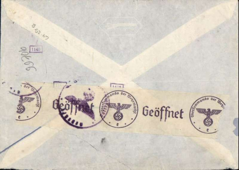 "(Germany) Germany to USA, flown by LATI, rare double rate censored WWII imprint etiquette airmail cover, Berlin to New York, uncommon red Berlin 8 1 41 455rpf machine cancel, typed ""Mit Luftpost uber Sudamerika"", ms ""8g"", sealed black/white German OKW censor tape, code e Frankfurt, also small German framed number censor marks. Correctly rated 450rpf for double rate Germany to USA via LATI (2x 215rpf air fee + 25rpf basic, see Beith p38). Flown Rome to Brazil by LATI, FAM 6 to Buenos Aires, then Panagra Pacific coast route to USA (see ?Pacific route endorsement below etiquette) and on to Cristobal for exchange of airlines, FAM 8 to Brownsville, then CAM 22 and internal airline to final destination. An expensive, but effective, method of sending Axis airmail to USA to avoid British censorship in Bermuda (FAM 18) and Jamaica (FAM 5).  A superb exhibit item in particularly fine condition."