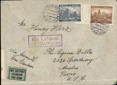 """(Bohemia and Moravia) Bohemia and Moravia to USA, flown by LATI, RARE censored WWII imprint etiquette airmail cover, Budweiss to Texas, franked 24K, ms """"Via Airmail/Rome-Lissabon"""", sealed black/white German OKW censor tape, code e Frankfurt tied by red eagle censor mark, also small German framed number censor mark. An expensive, but effective, method of sending Axis airmail to USA to avoid British censorship in Bermuda. Flown Rome to Brazil by LATI, then Pan Am Caribbean east coast, or Panagra west coast, to USA, then CAM 22 and internal airline to final destination.  Closed flap tear, otherwise fine. This is the first Bohemia & Moravia flown by Lati to USA we have found in 15 years!."""