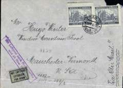 "(Bohemia and Moravia) World War II censored airmail cover to Vermonth, USA, franked 8k canc Prague cds, fine strike violet boxed ""Mit Luftpost nach Nordamerika und ab New York"" cachet tying black/pale green airmail etiquette, ms endorsement ""Via Air Mail"", sealed black on white OKW censor tape code ""a"" (Konigsberg for Baltic States and Soviet Union) tied by red circular eagle and swastika machine censor mark, grey airmail envelope top rh corner tear, see scan. Flown DLH to Lisbon, then Pan Am southern route to New York. See Bohemia and Moravia WWII air services, Boyle p 458 and illus of similar cover on p459."