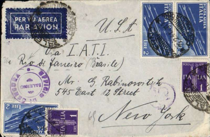 "(Italy) Rare Italy to New York, double rate cover carried by LATI to Recife, then by ship to New York, censored airmail etiquette cover franked 8L on front, canc Salerno cds, with additional 9.5L verso, canc small remnants of rare three black ""Par Avion Jusqu'a Recife"" hs's, ms ""Via Lati/Via Rio de Janeiro"", ms '6g', sealed black/white Italian censor tape tied by violet circular Salerno censor marks. The ""Par Avion Jusqu'a Recife"" hs was used on Italian mail to indicate airmail to Recife, then ship to USA. An extremely scarce LATI item, and definitely one for the exhibit."