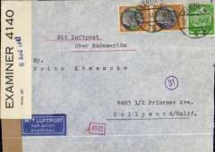 """(Germany) Germany to USA, flown by LATI, Berlin to Hollywood, California, underpaid dual censored airmail etiquette cover, franked 205pf canc Berlin cds,  typed """"Mit Luftpost uber Sudamerika"""", sealed black/white German OKW censor tape code 'd' (Munich) tied by blue circular 'Eagle' and other German censor marks, also sealed black/white PC 90 OBE 4140, 8 Aug 1941 (Bermuda) censor tape. Flown Rome to Brazil by LATI, then by the Pan Am East coast service to USA but then intercepted enroute by the British censor in Bermuda. Normally an expensive, and usually effective, method of sending Axis airmail to USA and avoiding British censorship but unsuccessful on this occasion possibly because it was underpaid.  A superb exhibit item in particularly fine condition."""