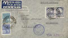 (Brazil) LATI northbound flight, Brazil to Finland, censored airmail cover Rio de Janeiro to Kuusankoski, franked 5400R, the combined surface rate per 5g. to Europe, canc Rio de Janeiro cds, fine Lati four line dark blue/white gull wing service etiquette, nice strike blue Finnish/Swedish double circle censor mark, violet straight line 'Via Aerea' hs. Mail to Finland is rare, none recorded in Beith, 1993.