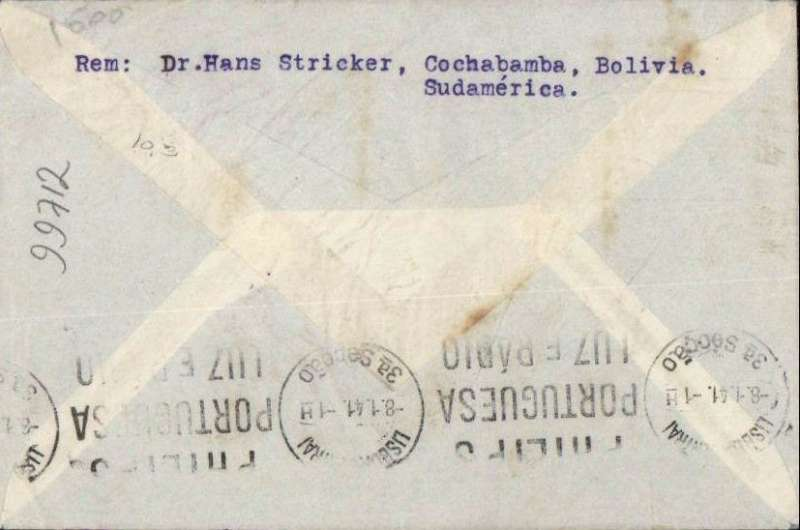 (Bolivia) Bolivia to Portugal, flown by LATI, scarce uncensored WWII registered (hs) airmail cover, Cochabamba to Lisbon, bs Lisboa 8.1.41, franked verso 14B5, canc large purple framed 'Correos de Bolivia/Cochabamba' dated hs, grey/blue 'Per Via Aerea' envelope with outline of plane, typed 'Via Condor-Lati'. Correctly rated for LATI to Europe - Beith's cover was franked 14B 10c (see page 25). Carried by LAB Condor to Rio, by LATI all the way to Seville, then air shuttle to Lisbon. No Bermuda censor and franking confirms not flown by PAA.  Nice item.