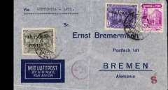 """(Peru) Luthansa/LATI northbound flight, Peru to Germany, censored imprint etiquette airmail cover, Lima to Bremen, franked 3S20, canc Lima cds, typed Via """"Lufthansa-LATI"""", red German 'A/d' censor mark. Flown from Lima to Rio de Janero by Lufthansa, then OAT by LATI."""