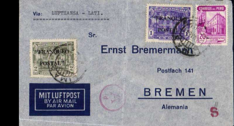 "(Peru) Luthansa/LATI northbound flight, Peru to Germany, censored imprint etiquette airmail cover, Lima to Bremen, franked 3S20, canc Lima cds, typed Via ""Lufthansa-LATI"", red German 'A/d' censor mark. Flown from Lima to Rio de Janero by Lufthansa, then OAT by LATI."